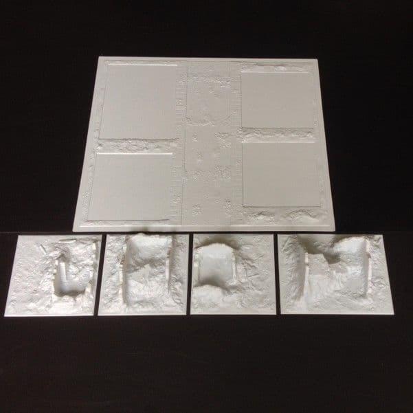 Amera Plastic Mouldings 1/72 & 1/76 Shell Damaged Buildings & Amera Base Set # A129