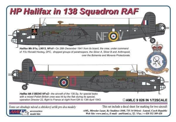 AML 1/72 Handley-Page Halifax Mk.I / Mk.II in 138 Squadron RAF # C9026