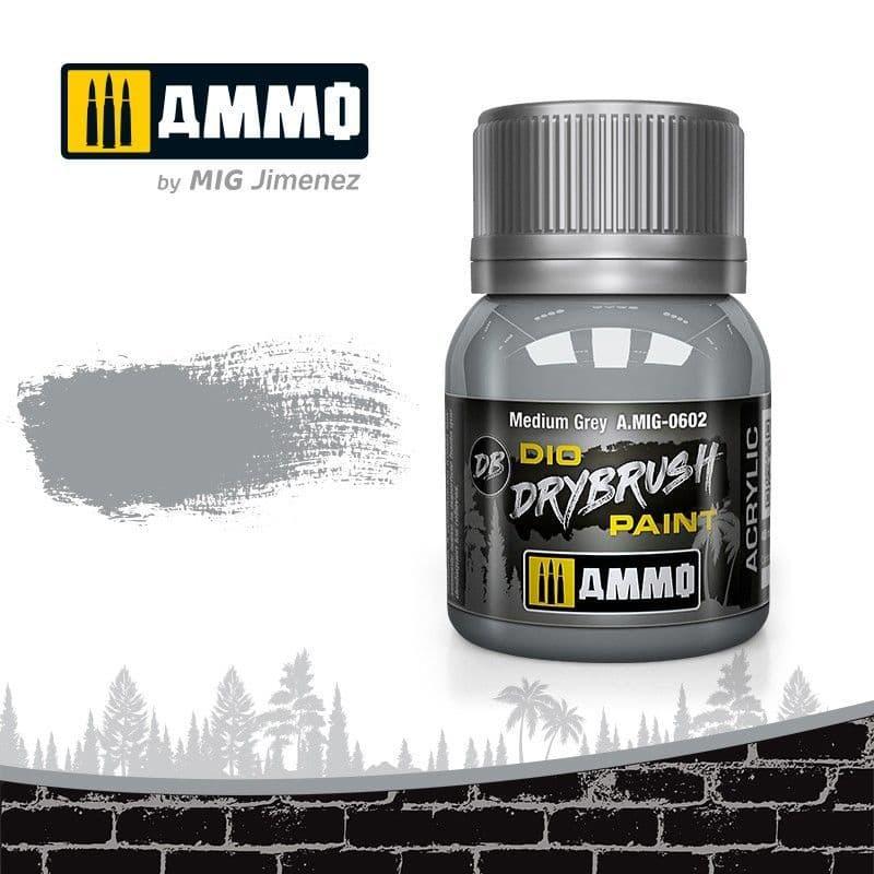 Ammo by Mig 40ml Medium Grey Dio Drybrush Acrylic Paint # MIG-0602