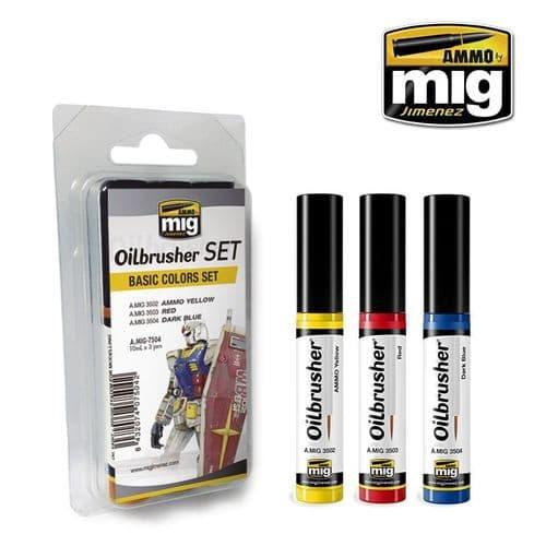 Ammo by Mig - Basic Colours Oilbrusher set # 7504