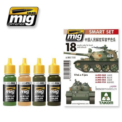 Ammo by Mig - Chinese People's Liberation Army Colours Smart Acrylic Paint Set # MIG-7152