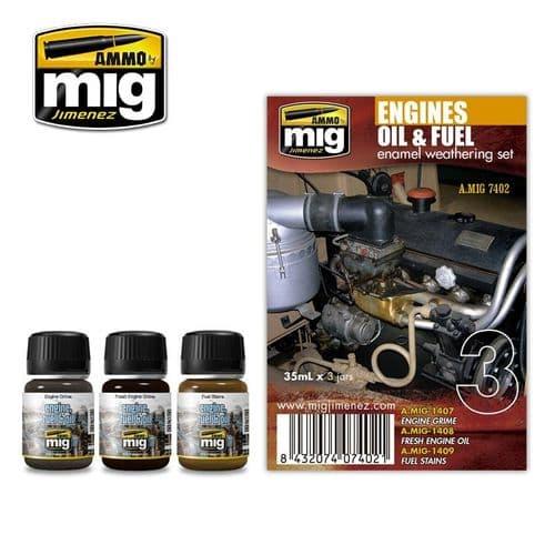 Ammo by Mig - Engines Oil & Fuel Enamel Weathering Set # MIG-7402