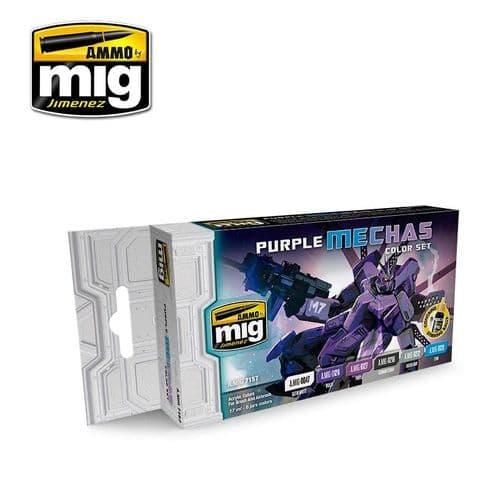 Ammo by Mig - Purple Mechas Colours Acrylic Paint Set # MIG-7157