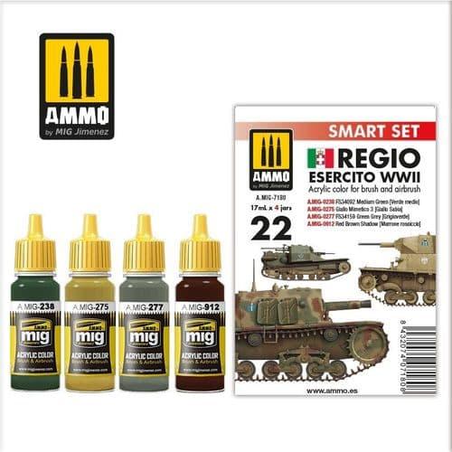 Ammo by Mig - Regio Esercito WWII Smart Acrylic Paint Set # MIG-7180