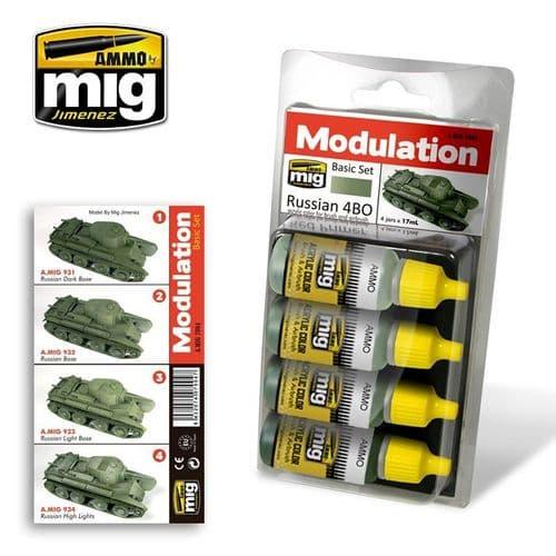 Ammo by Mig - Russian 4BO Modulation Basic Acrylic Paint Set # MIG-7004