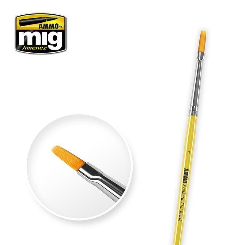 Ammo by Mig - Size 1 Synthetic Flat Brush # MIG-8619