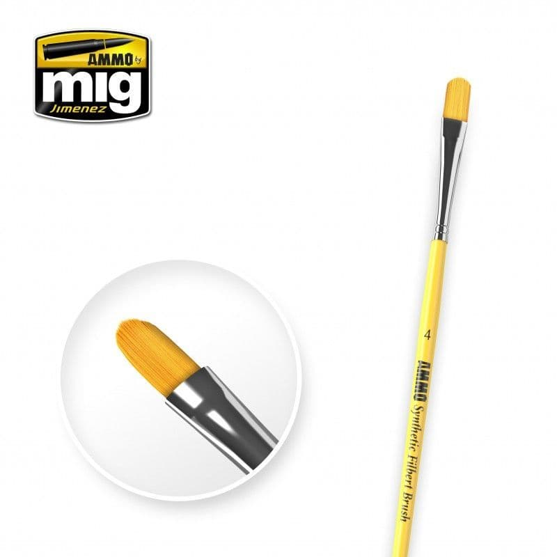 Ammo by Mig - Size 4 Synthetic Filbert Brush # MIG-8595