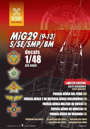 Antarki 1/48 Mikoyan MiG-29 (9-13) S/SE/SMP/BM Decal Sheet # 48001