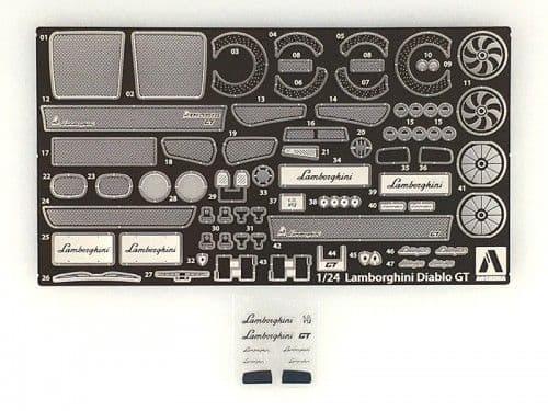 Aoshima 1/24 Lamborghini Diablo GT No.8 Photo-Etched & Detail-Up Parts Set # 010532