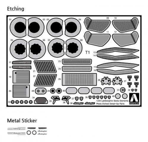 Aoshima 1/24 Lamborghini Sesto Elemento No.5 Photo-Etched & Detail-Up Parts Set # 010754