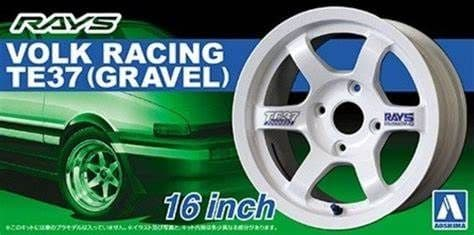 "Aoshima 1/24 Volk Racing TE37 (Gravel) 16"" Custom Wheels Set # 05250"