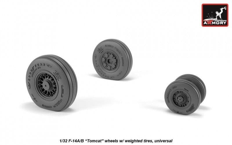 """Armory 1/32 Grumman F-14A/B """"Tomcat"""" Wheels with Weighted Tires (Universal) # AW32309"""