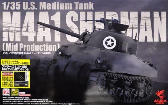 Asuka 1/35 U.S. M4A1 Sherman Medium Tank (Mid Production) & Extra Upgrades # 35010SC