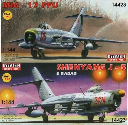 Attack 1/144 Mikoyan MiG-17PFU & Shenyang J-5 and Radar (2 kits in 1 box) # 14423