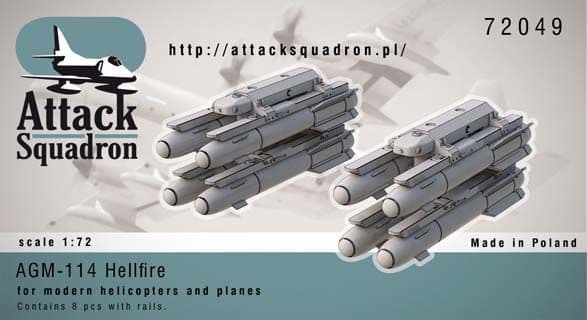 Attack Squadron 1/72 AGM-114 Hellfire w/Launch Rails 8pcs # 7204