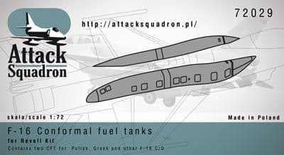 Attack Squadron 1/72 F-16 CFT/Conformal Fuel Tanks # 72029