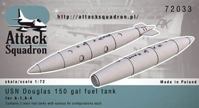 Attack Squadron 1/72 USN 150 gal Douglas Fuel Tanks (2pcs) # 720