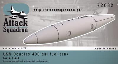 Attack Squadron 1/72 USN 400 gal Douglas Fuel Tank (1) # 72032