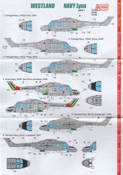 Authentic Decals 1/48 Westland Navy Lynx Part 1 # 4848