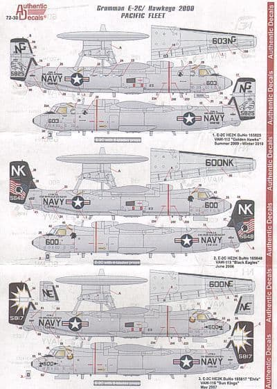 Authentic Decals 1/72 Grumman E-2C Hawkeye 2000 Pacific Fleet # 7230
