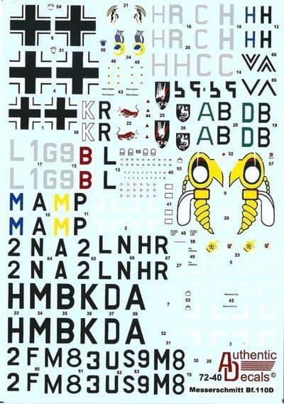 Authentic Decals 1/72 Messerschmitt Bf110D Luftwaffe # 7240
