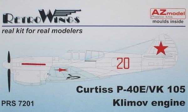 AZ Model 1/72 Curtiss P-40E/VK-105, VVS Klimov Engine & Resin Parts # 7201