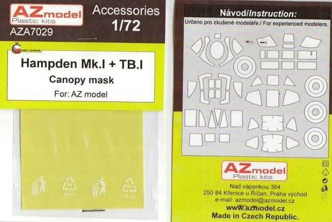 AZ Models 1/72 Handley-Page Hampden Mk.I Canopy Mask # A7029