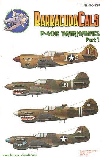 Barracuda Decals 1/48 Curtiss P-40K Warhawks Part 1 # 48007