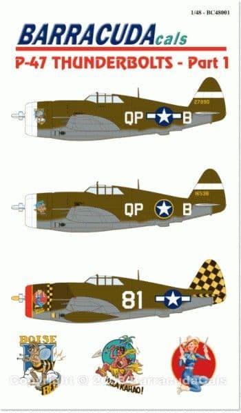 Barracuda Decals 1/48 Republic P-47 Thunderbolts 'Razorback' Part 1 # 48001