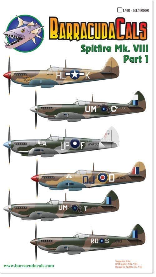 Barracuda Decals 1/48 Supermarine Spitfire Mk.VIII Part 1 # 48008