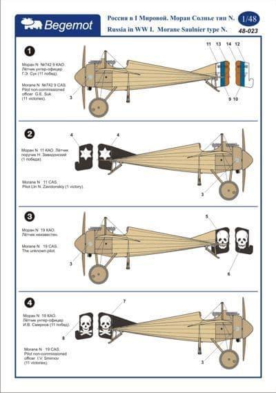 Begemot 1/48 Russia in the WWI. Morane Saulnier Type N. # 4822