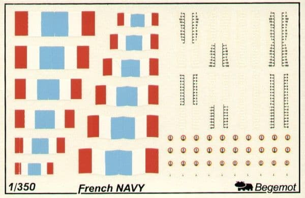 Begemot Decals 1/350 French Navy Flags and Markings # 350-002