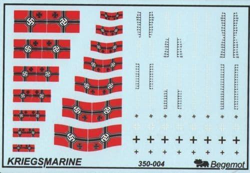 Begemot Decals 1/350 German Kriegsmarine Flags and Markings # 350-004