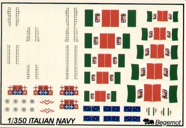 Begemot Decals 1/350 Italian Navy Flags and Markings # 350-001