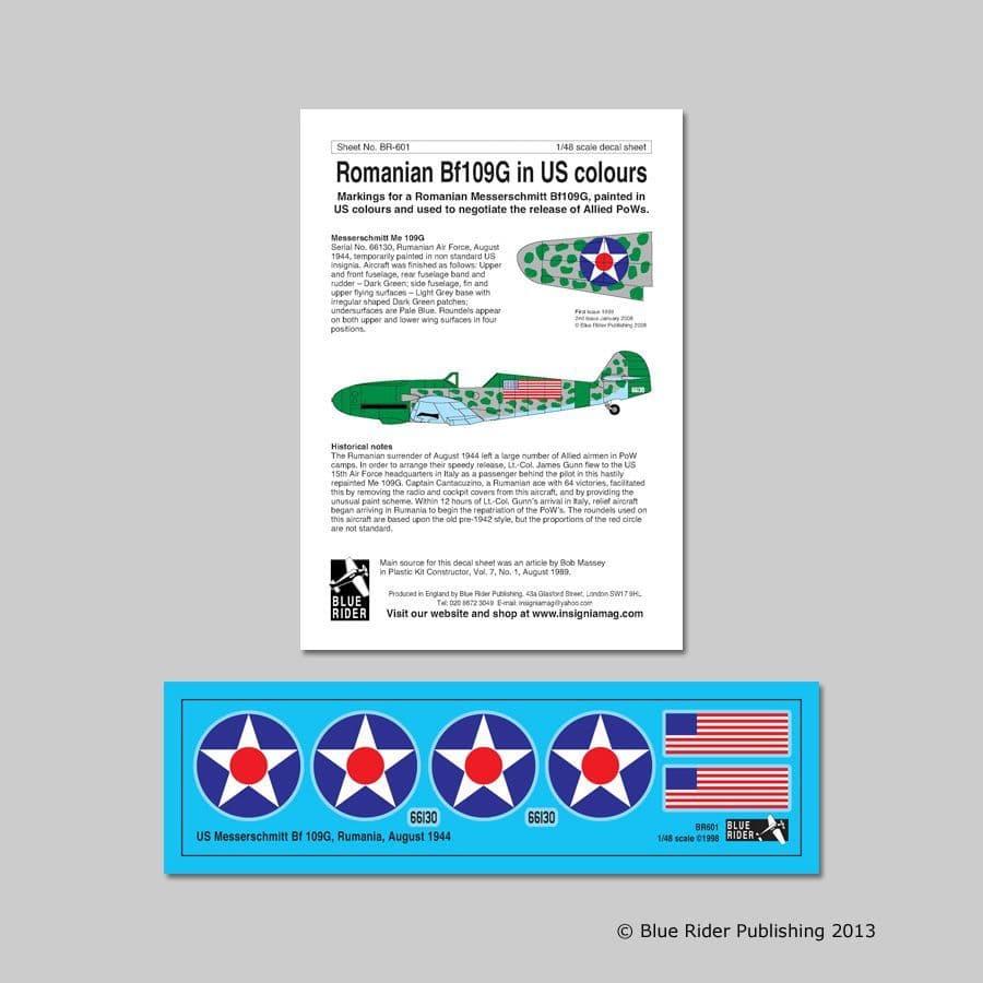 Blue Rider Decals 1/48 Messerschmitt Bf-109G in US Markings 1944 # 601