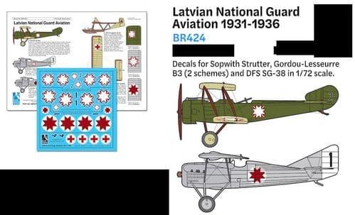 Blue Rider Decals 1/72 Latvian National Guard Aviation 1931-1936 # 424