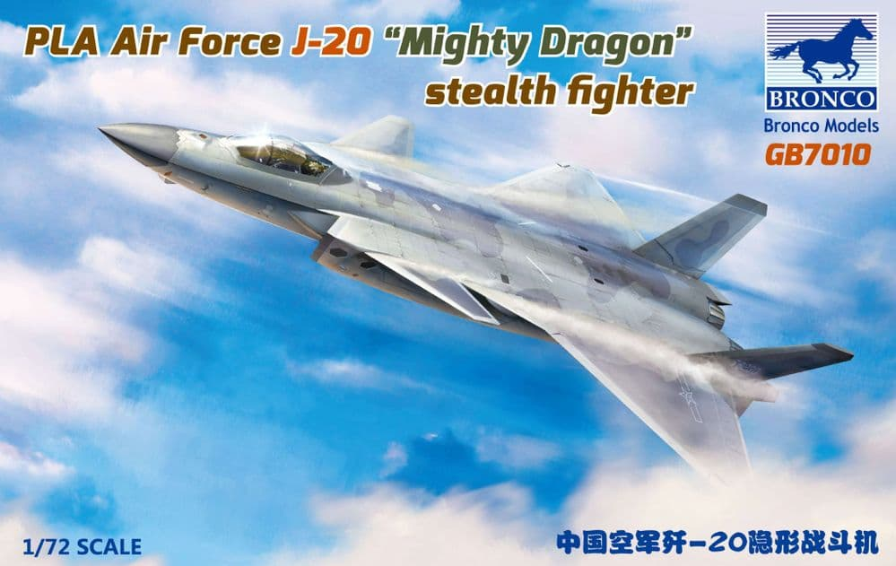 """Bronco 1/72 PLA Air Force J-20 """"Mighty Dragon"""" Stealth Fighter # GB7010"""