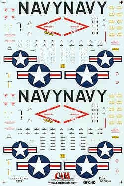 CAM 1/48 Hi-Viz National Insignia & Data Stencilling for 2 x US Navy/Marines McDonnell F-4B Phantom