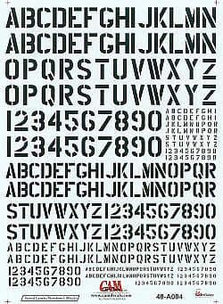 CAM 1/48 Stencil Letters and Numbers Black # 48A04