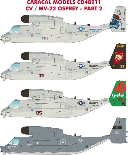 Caracal Decals 1/48 Bell-Boeing MV-22 Osprey Part 2 # 48211