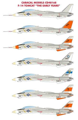 Caracal Decals 1/48 Grumman F-14 Tomcat - The Early Years # 48168