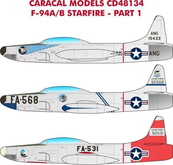 Caracal Decals 1/48 Lockheed F-94A/B Starfire Part 1 # 48134