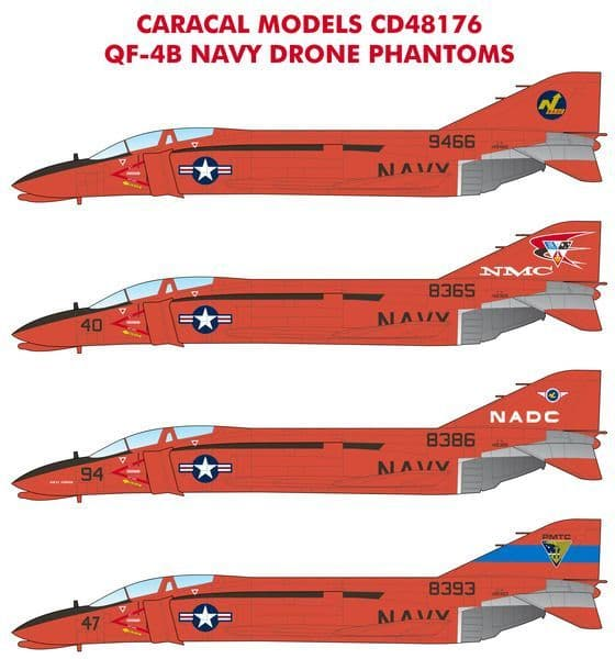 """Caracal Decals 1/48 McDonnell QF-4B """"Navy Drone Phantoms"""" # 48176"""