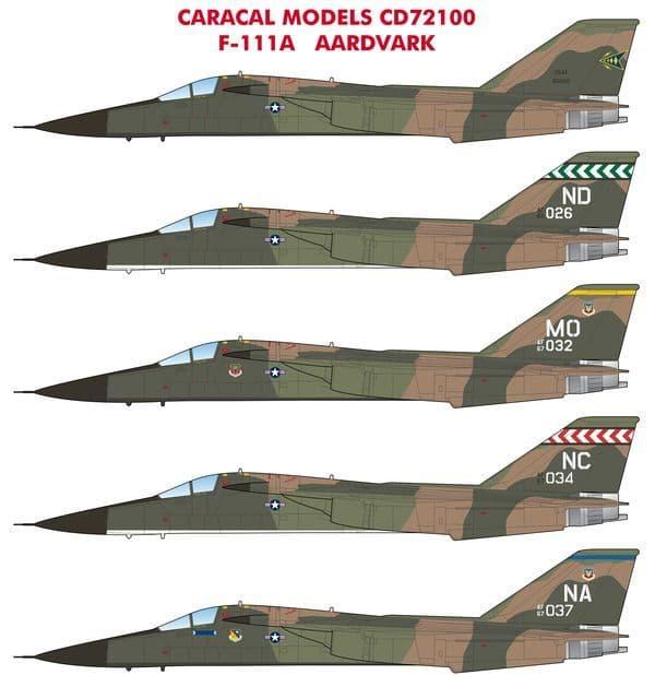 Caracal Decals 1/72 General-Dynamics F-111A Aardvark # 72100