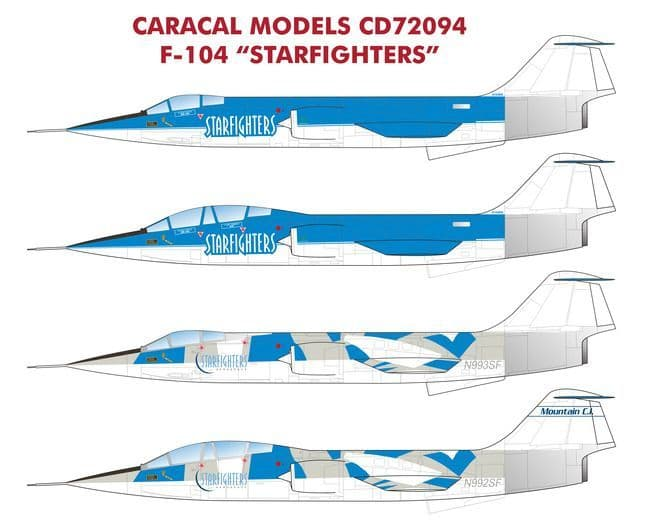 """Caracal Decals 1/72 Lockheed F-104 """"Starfighters"""" # 72094"""