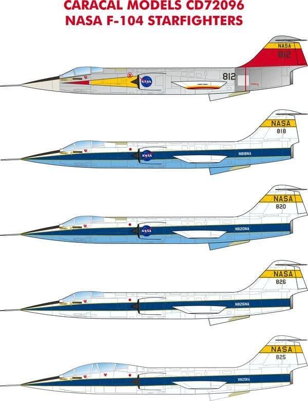 """Caracal Decals 1/72 Lockheed NASA F-104 """"Starfighters"""" # 72096"""