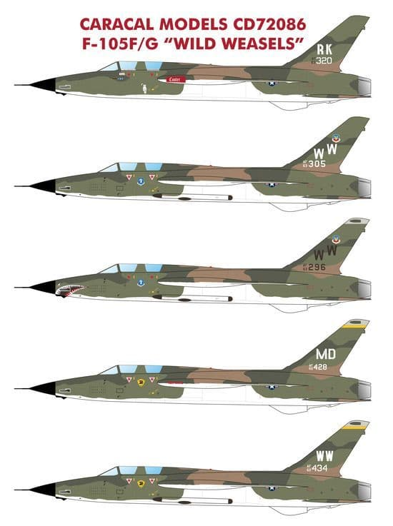 "Caracal Decals 1/72 Republic F-105F/F-105G ""Wild Weasels"" # 72086"
