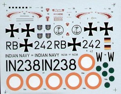 Classic Airframe Decals 1/48 Hawker Sea Hawk Mk.101 (Export Version) West German & Indian Navy # 490