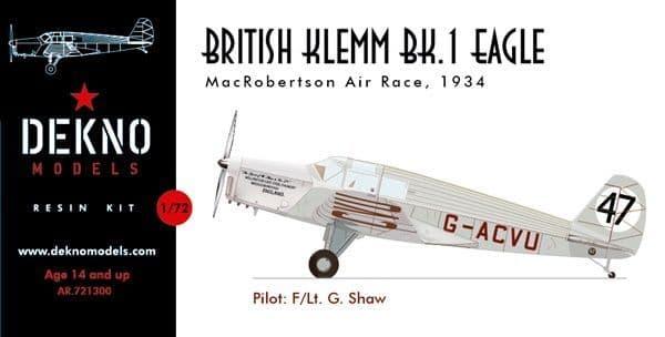 Dekno 1/72 British Klemm BK.1 Eagle of the MacRobertson Air Race in 1934 # AR721300