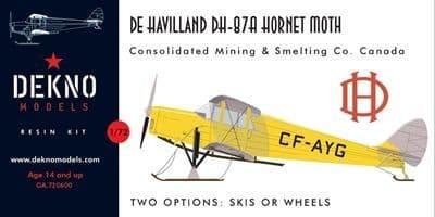 Dekno 1/72 De Havilland DH-87A Hornet Moth in Canadian Livery # GA720600